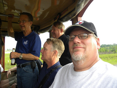 Here I am with Jim, John and Rex on the trolley.