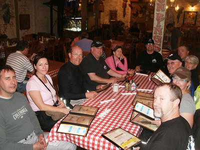 Clockwise from left:  Willie, Terri, Herman, Bud, Karen, Scott, Graeme, Liz, Leonard, Ann, and Barry at Clear Springs Cafe in Nacogdoches.