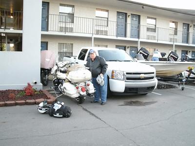 Rex unloading the bike.