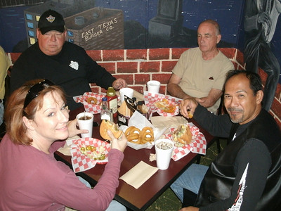 Kim, Rex, Joe, and Nathan chowing down
