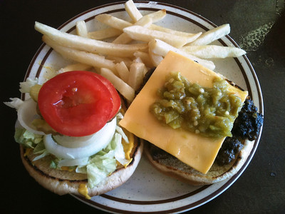 Green Chile Cheeseburger at Cowboy Cafe in Roswell, NM!  Great way to start the riding in NM!