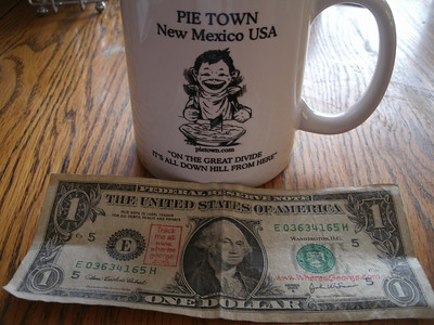 I picked up this 'WheresGeorge.com' dollar in Natchez, MS and held on to it for spending on this trip.  Left it as a tip actually.