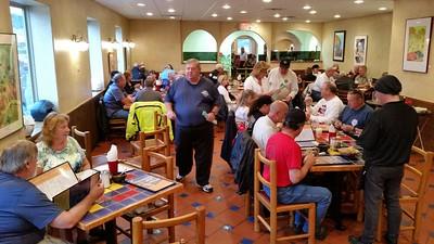 Saturday night dinner at Acapulco Mexican Restaurant.  Rex hawking 50/50 tickets.