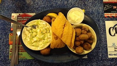 Great catfish, okra, cole slaw, and hush puppies.