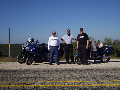 Taking a break on 336 north of Leakey on Friday.  Jeff, Chuck Carter and me!