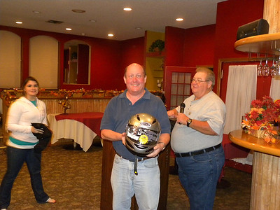 Door Prize Winner - Jeff Zahn receiving a new helmet!