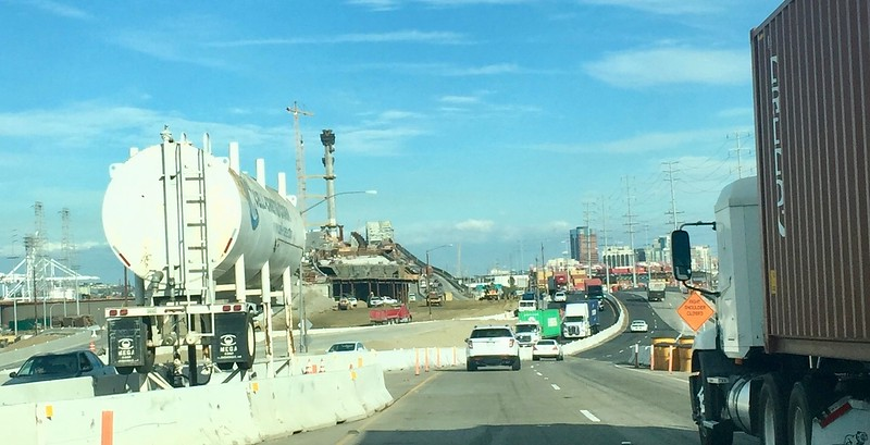 construction of a new bridge is still ongoing into long Beach