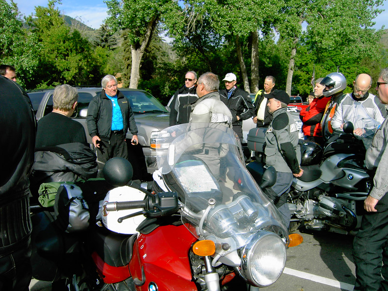 "The Colorado club's Gypsy Ride gets ready to leave Morrison, CO.  ""Leader"" Jeff Galligan is in the turquoise shirt.  That's my red R1150R."