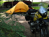 Test run on the new tent and sleeping bag in my front yard a couple days before departure.