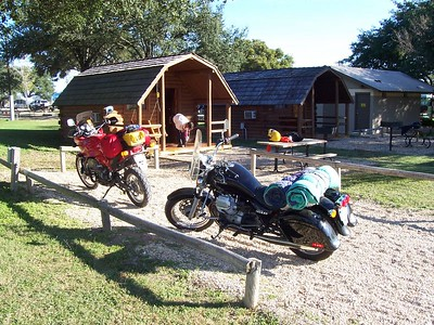 Our KOA cabin just up the road from Luckenbach. Chris' dad & step-mom were in the cabin next door.