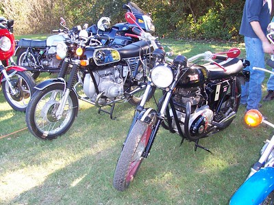 """A BMW 75/5 """"toaster tank"""" and a BSA."""