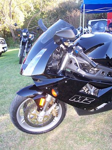 The bike looks & sounds beautiful. The ground shook when they revved this thing.