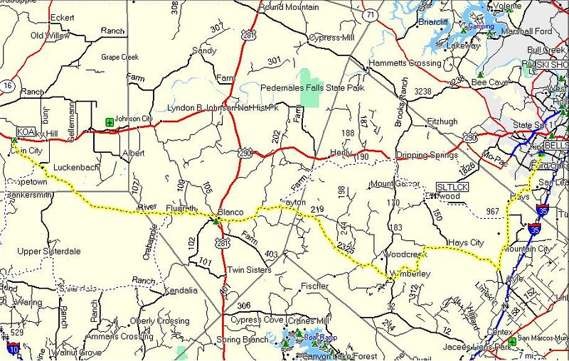 Austin to Luckenbach route in yellow: I left Austin late and got stuck in some traffic, but I still managed a good ride and avoided Hwy 290. I went through Wimberley and Blanco then took 1888.