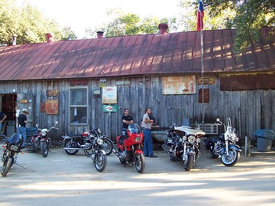 Widely varied bikes along the side of the General Store.