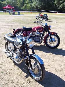 An old Honda Superhawk and a great looking Guzzi Eldorado 850.