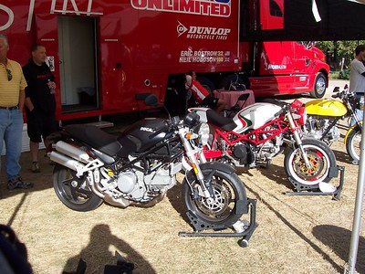 At the Ducati trailer, a few Monsters lurk.