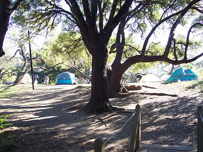 Entering the camping area across the footbridge behind the Luckenbach General Store.