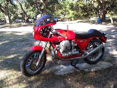 I should have known right away that this great looking Guzzi Le Mans was rally founder Russell Duke's bike. I saw him later riding it and then realized who it belonged to.