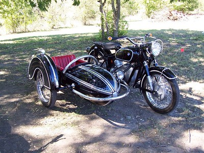 Old BMW with sidecar.