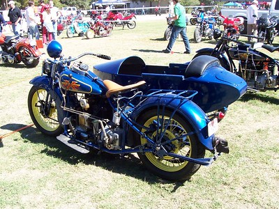 One of the coolest old bikes at the rally... an Excelsior Henderson with a sidecar. Someone commented the sidecar looked like a Dutch wooden shoe.