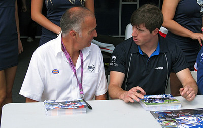 Jack Burnicle and Graeme Gowland deep in conversation.