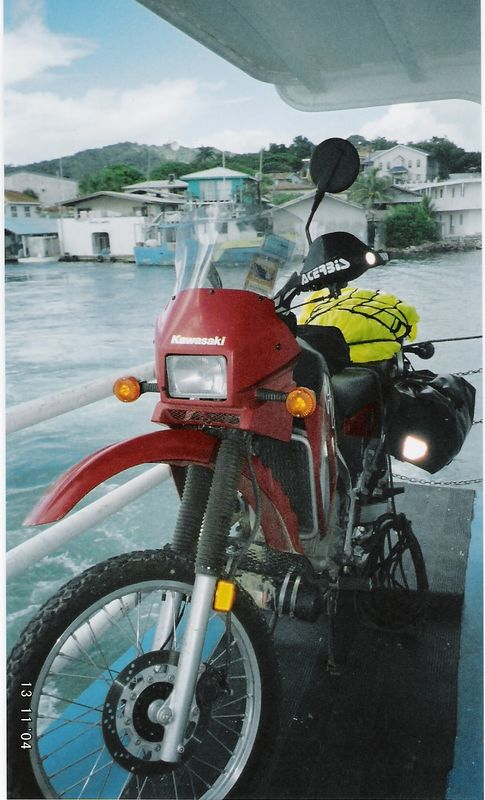 KLR ON FERRY DECK TO ROATAN