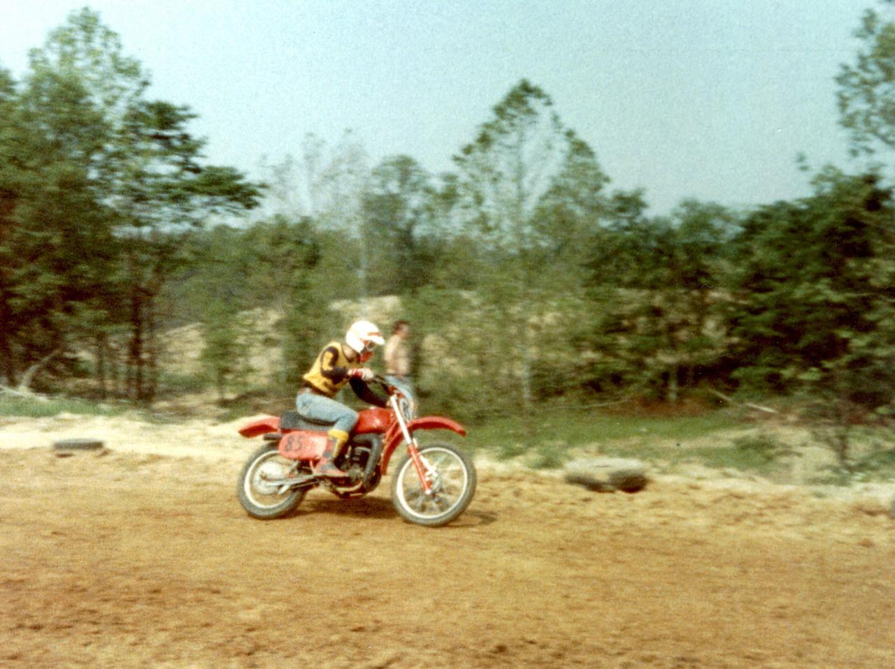 Larry Hughey riding a 1978 Maico 250