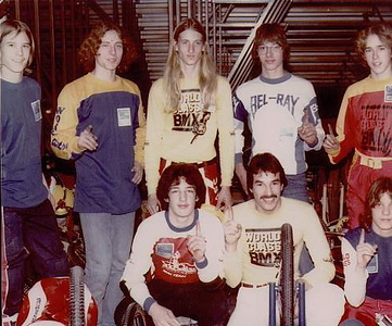 WORLD CLASS BMX TEAM   JAG WORLD CHAMPIONSHIP RACE Dec 31, 1978 Indianapolis Left to right back row Trap Kemper...deceased Eric Johnson Robert Knox Joe Panyard Robbie Hatchel Front row Mike Moore Larry Hughey Sven Johnson...deceased