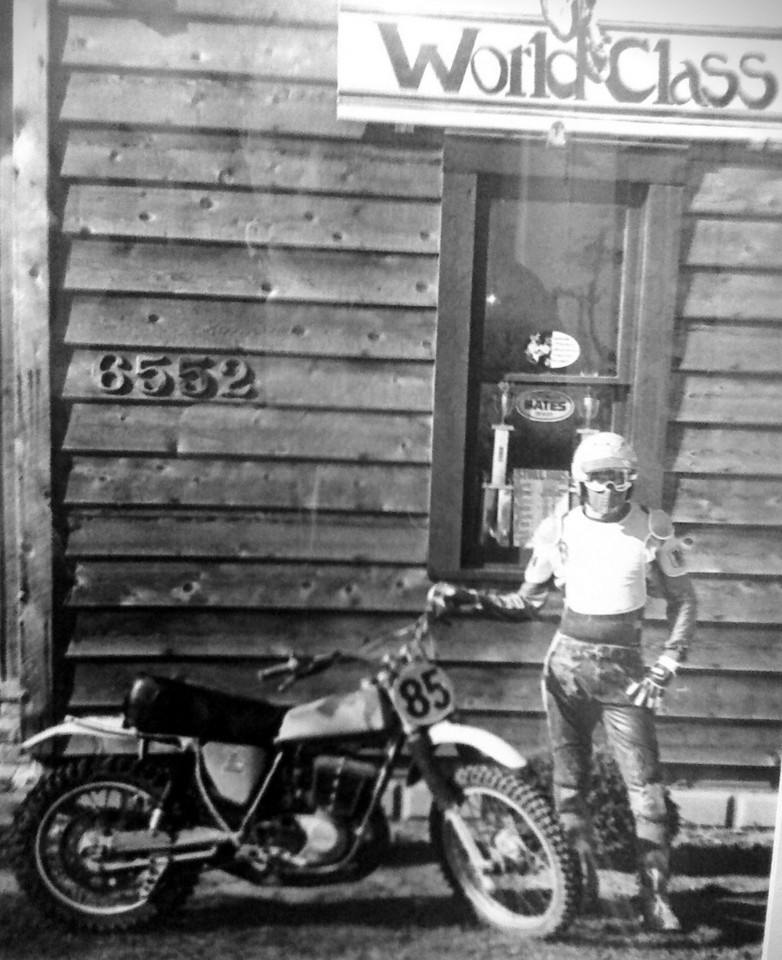 Larry Hughey in front of World Class Products shop located in Broad Ripple  1975-78<br /> Maico 400