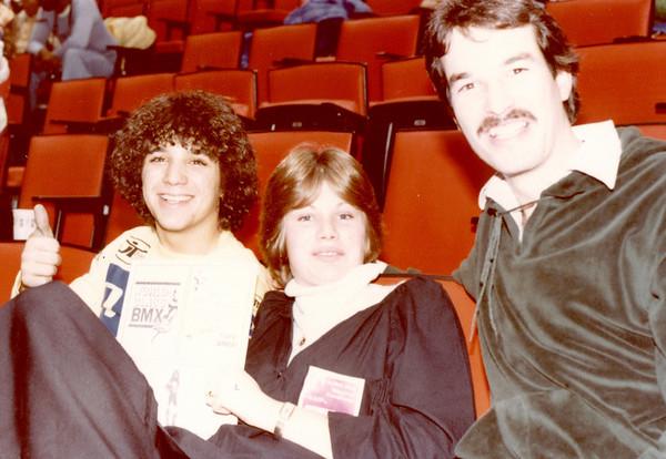 Sal Zuner,Cheri Hanna and Larry Hughey @ Jag BMX 1978 Ms Hanna showing a World Class BMX ad in program