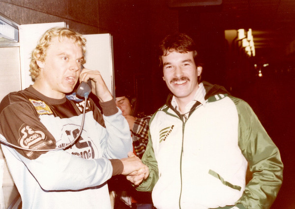 Stu Thompson had just won the Jag World Championship at Indianapolis and was on a pay phone out in the lobby. Stu Thompson was a National BMX champion. Larry Hughey, owner World Class Products
