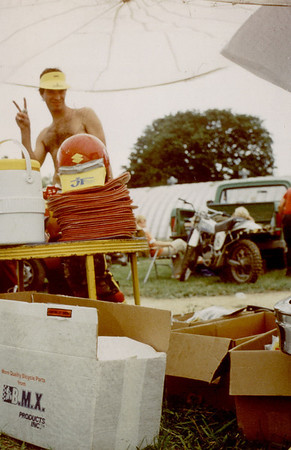 Larry Hughey Selling accessories at Knobby Hill Motocross District 15
