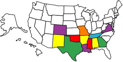 States visited on two wheels as of February 2010