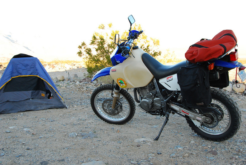 setting up camp in Panamint Springs CG.<br /> Rode from Sherman Oaks, CA. took 4 1/2 hours- bad winds.