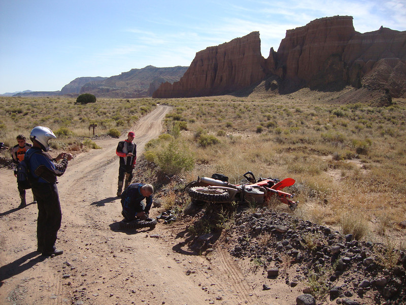 Jim's flat tire in Cathedral Valley Day 5