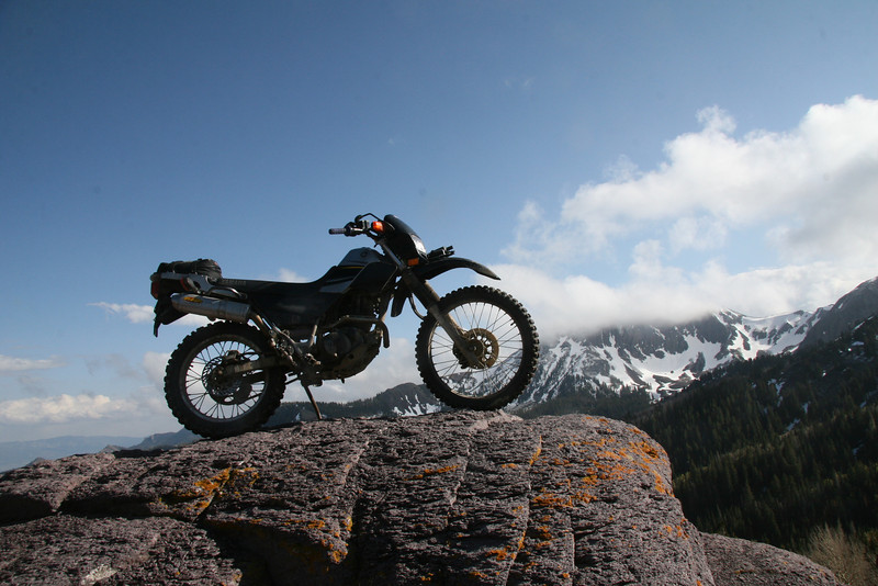 My 2003 XT225.  You can ride up on this rock but should do so carefully.  I needed to lean my fuel mixture slightly to improve high altitude performance.
