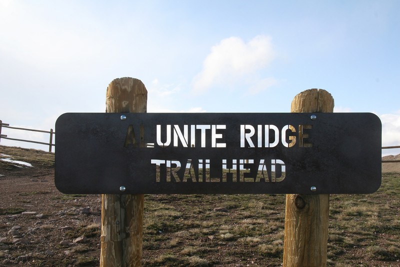 The Alunite Ridge trail head is at 11,200 feet.  Weather was changing by the minute on this day with temperatures around 38F at 6PM MST.