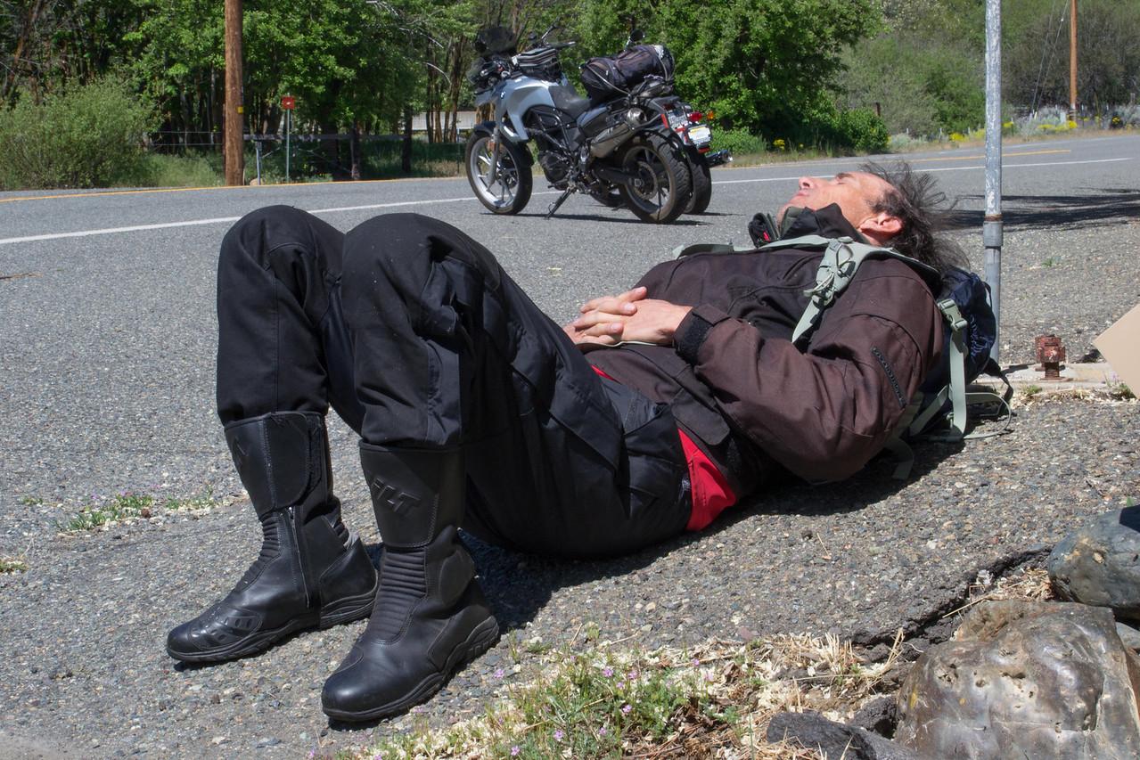With gas over 4 bucks a gallon, a traveler can nap peacefully on main street.