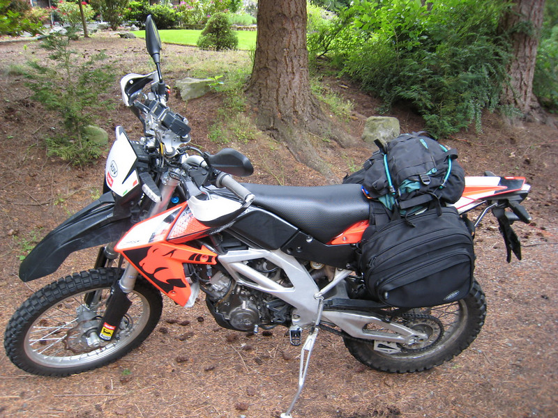 I was invited by Ron to a Memorial Day weekend ride gathering in the backwoods of the Lake Wenatchee area at a secret location. Since I planned to ride this beast the 105 miles each way -- plus 60+ miles or so of trail riding -- this was a good excuse to finally get some luggage mounted onto the narrow RXV550 for a test, something I don't think anyone has tried before. Yes the bags are on backwards, experimented with them that way.