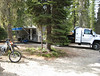 Ron brought his little camping setup, a really nice Toy Trailer pulled by a 4WD dumptruck! Ron really out-trucks the pickup trucks! Satellite TV and Radio, baby, that's roughing it!