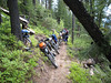 So now turn around all the bikes on a narrow trail on steep slope ground.