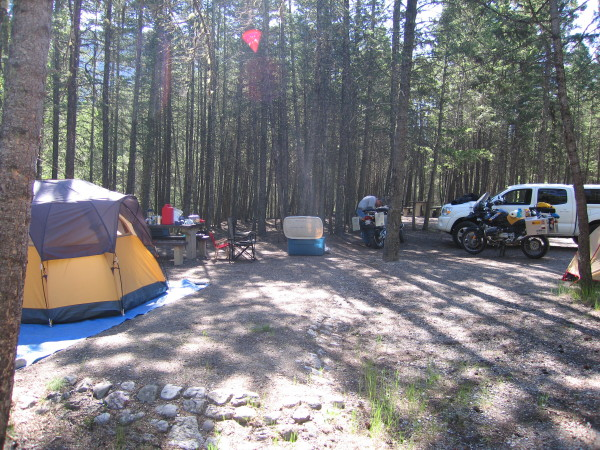 Radium Hot springs camp site. We were the only people in the camp site.