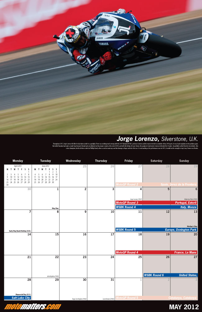 MotoMatters.com 2012 Motorcycle Racing Calendar - Monthly grid layout
