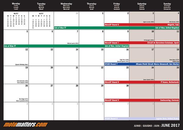 2017 MotoMatters calendar month layout, June