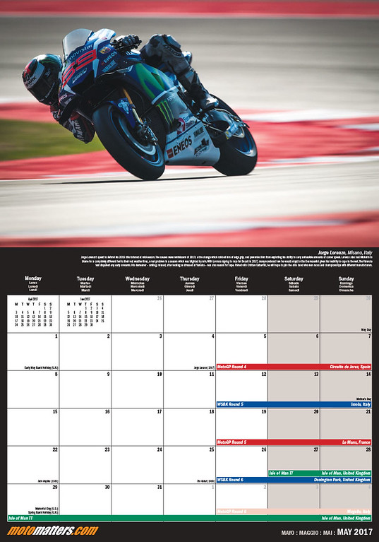 MotoMatters.com 2017 Motorcycle Racing Calendar - Monthly grid layout