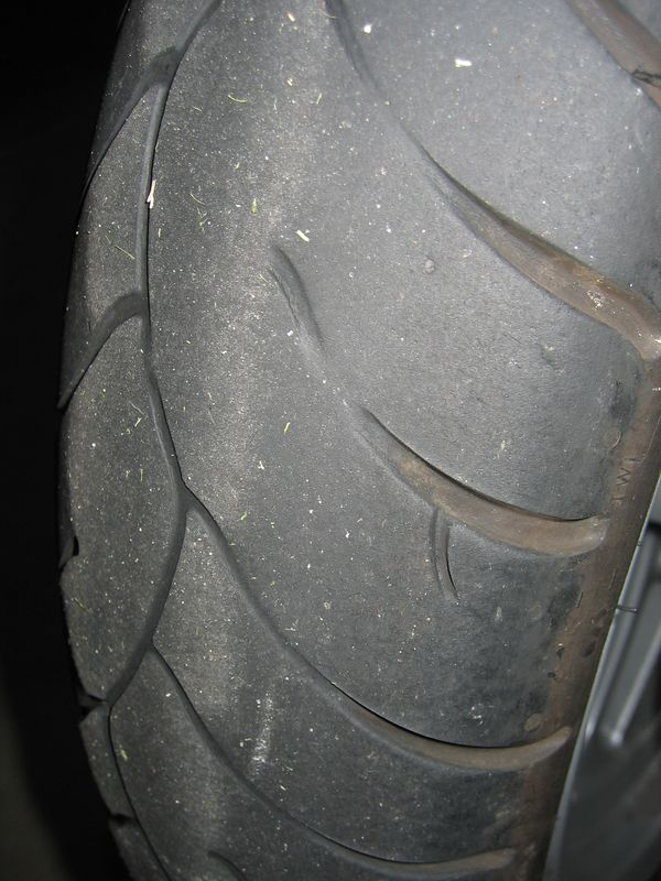 Another view of the front tire, again showing the wear indicators.