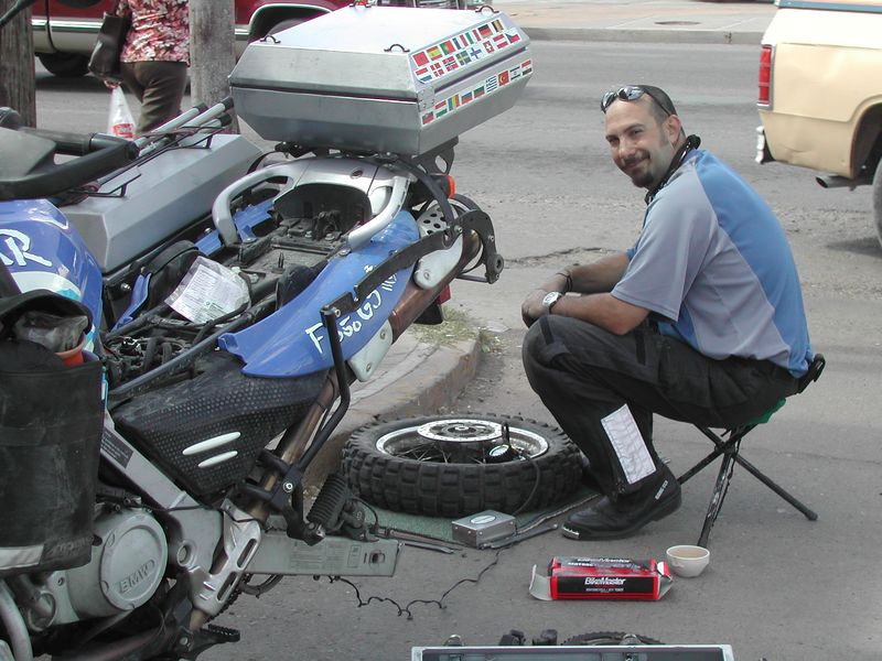 Chris fixing his flat tire