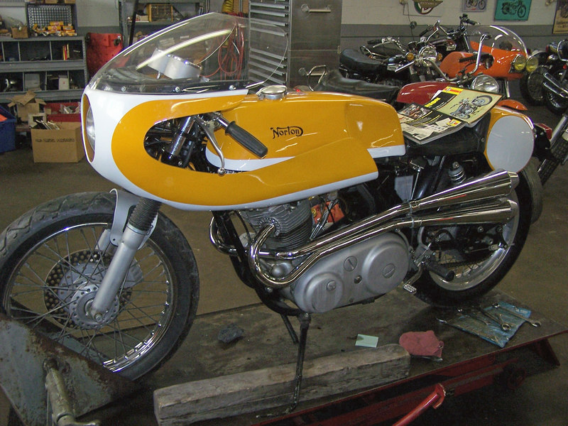 Mike has a wide asortment of different and collectible older bikes.<br /> This is a Norton Norvil 750 replica.1969 frame,1971 engine.combat cams,Mikuni carb.Great riding period cafe