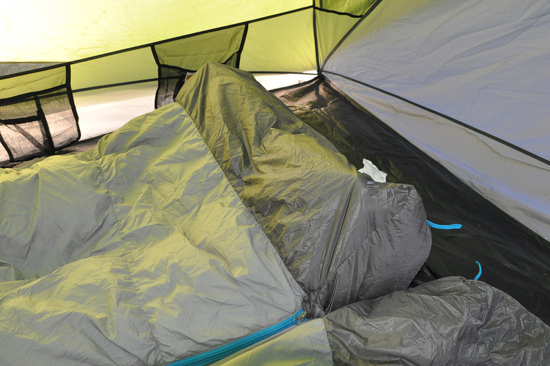Innovative design of extra space in the footbox with water repellant material if brushed against condensation from the tent.