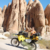 Ecstatic to be on my first solo motorcycle ride, I ease into adventure routine with ease amidst these dramatic rock formations in Joshua Tree national park, my first night's campsite destination.